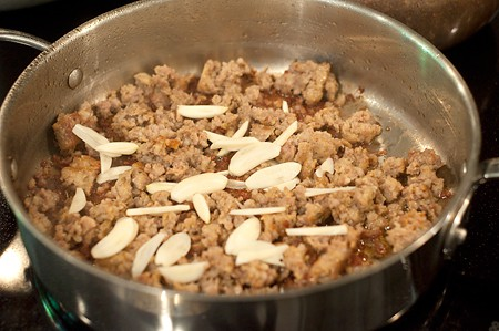 Add garlic to Italian Sausage and Rotini
