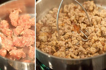 Browning sausage for Italian Sausage and Rotini