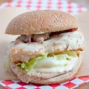 Serve this Chicken Bacon and Swiss Sandwich for a hearty dinner any night of the week. Add a salad or fries for a full meal. https://www.lanascooking.com/chicken-bacon-and-swiss-sandwich/