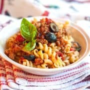 Italian Sausage and Rotini in a serving bowl.