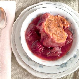 Make this Strawberry Cobbler in the spring with fresh from the farm berries, or any time of year with frozen ones From @NevrEnoughThyme https://www.lanascooking.com/strawberry-cobbler/