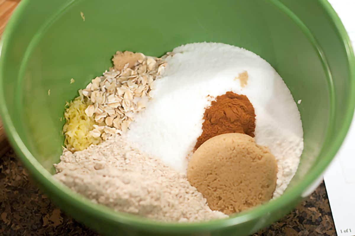 Dry ingredients in a medium mixing bowl.