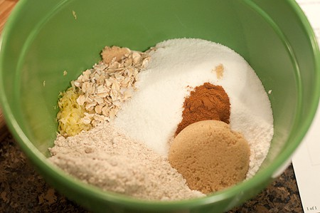 Mixing dry ingredients in a medium mixing bowl