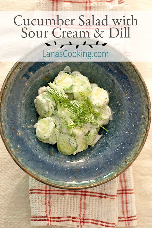 Cucumber Salad with Sour Cream and Dill - this summery cucumber salad is so fresh and light! A great side dish for hot days. From @NevrEnoughThyme https://www.lanascooking.com/cucumber-salad-with-sour-cream-and-dill/