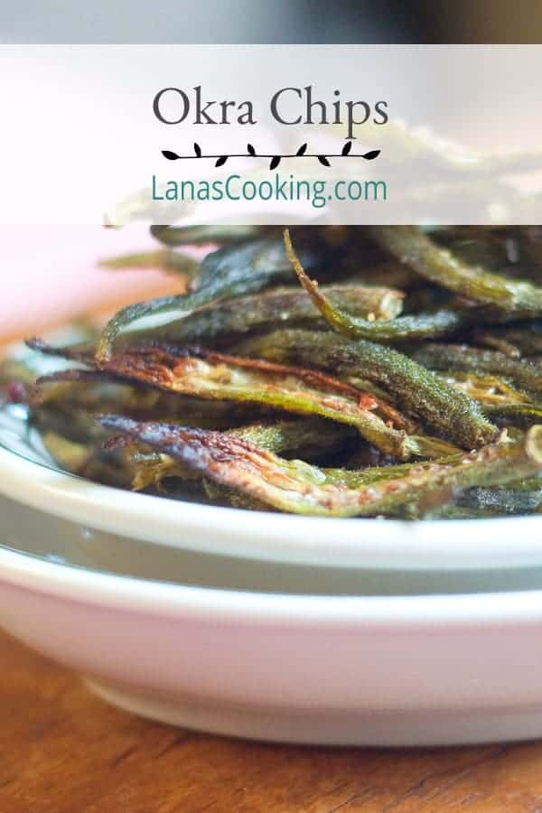 Crispy, salty, and delicious - homemade okra chips baked in the oven until light and crunchy. Great alternative to potato chips. From @NevrEnoughThyme https://www.lanascooking.com/okra-chips/