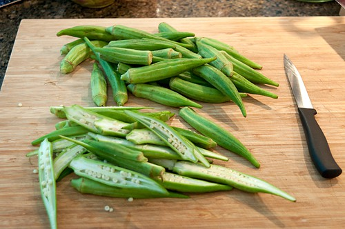 Prepping okra for Okra Chips