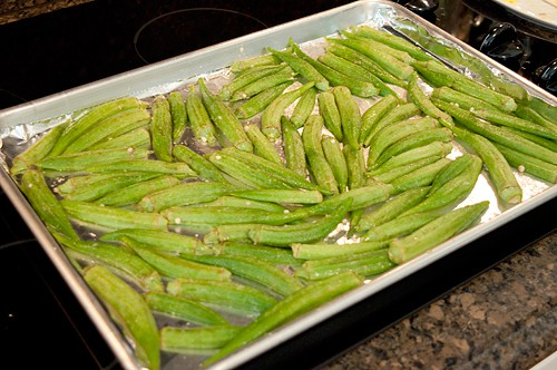 Okra chips ready for oven
