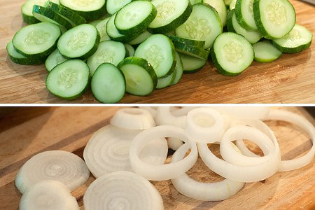 Prepping cucumbers and onions for sugar-free bread and butter pickles