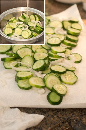 Rinse and drain cucumbers and onions for sugar-free bread and butter pickles