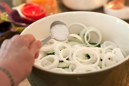 Salting cucumbers and onions for sugar-free bread and butter pickles