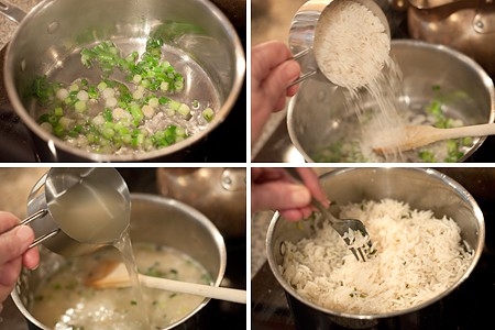 Photo collage showing steps for making cilantro rice.