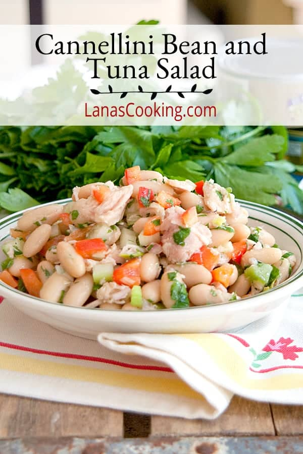 This cannellini (white kidney) bean and tuna salad is a great change of pace from the usual mayonnaise-based version. Enjoy it any time of year! From @NevrEnoughThyme https://www.lanascooking.com/cannellini-bean-and-tuna-salad/