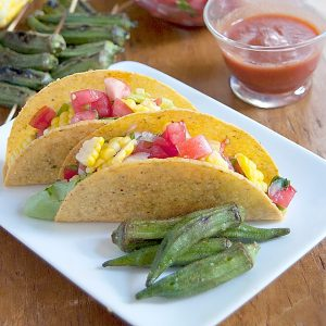 Farmers Market Tacos - tacos made fresher with help from the farmers market. Ditch the cheese and sour cream and add fresh veggies instead! https://www.lanascooking.com/farmers-market-tacos/