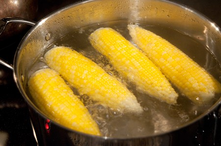 Boiling corn for Farmers Market Tacos
