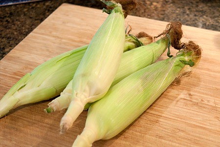 Fresh corn for Farmers Market Tacos