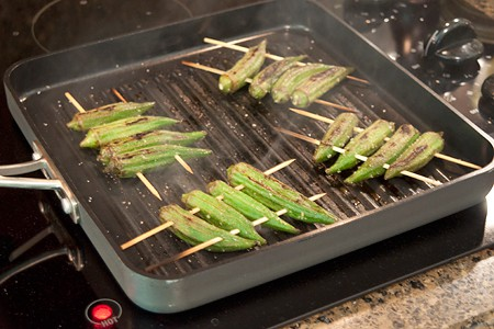 Grilling okra for Farmers Market Tacos