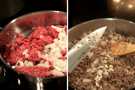 Making meat sauce for Pastitsio