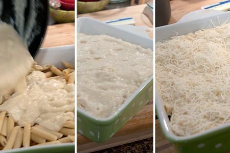 Adding cheese sauce
