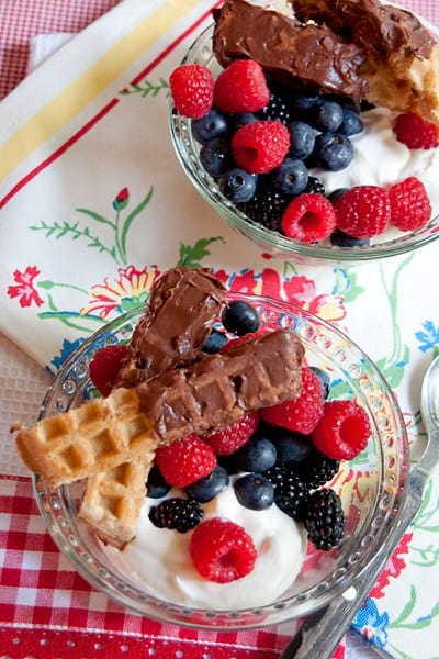 Chocolate-Caramel Dipped Waffle Sticks with Fresh Berries and Cream