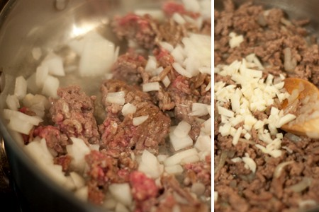 Browning beef and onions for Italian Style Hand Pies with Marinara Dipping Sauce