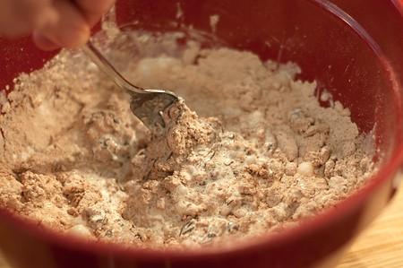 Stir mixture with a fork