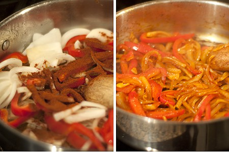 Peppers and onions cooking in a skillet.