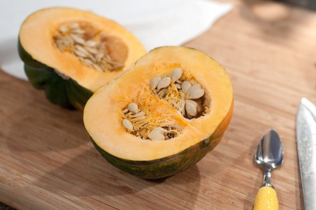 Halve the squash for Baked Acorn Squash