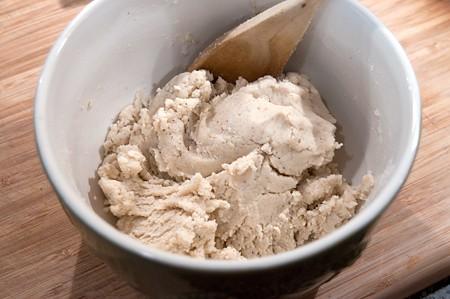 Mixed dough in a bowl.