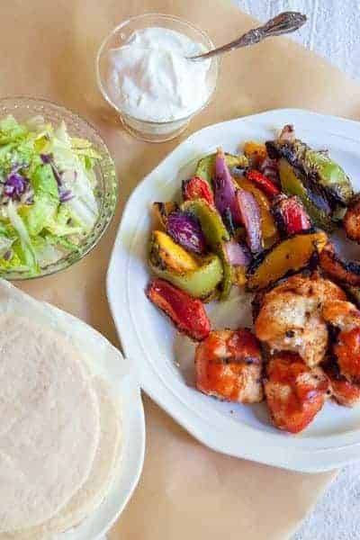 Grilled Chicken Skewer Fajitas with Old El Paso Fajita Dinner Kit