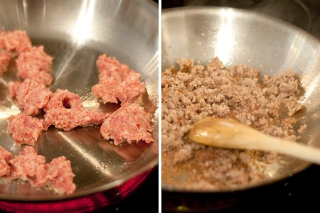 Cooking sausage for Sausage Cheese Dip