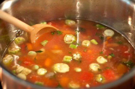 All ingredients in the pot for Vegetable Soup