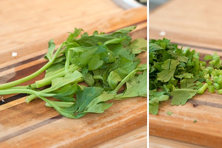Prepping celery stems and leaves for Vegetable Soup