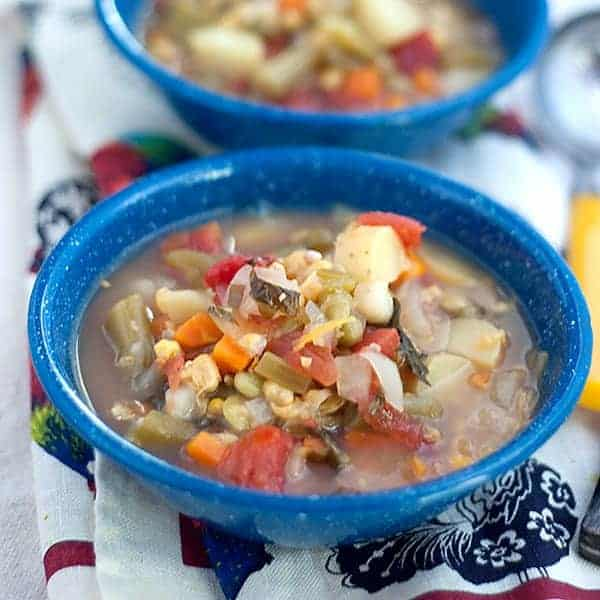 A fantastic Vegetable Soup brimming with every veggie in the pantry to warm you on a cold winter day. Serve with crackers, cornbread or grilled cheese. https://www.lanascooking.com/vegetable-soup/