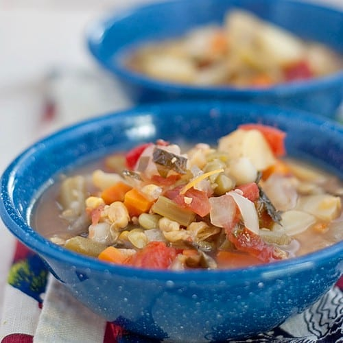 Ready in under 45 minutes, this Vegetable Soup will warm you on the coldest day! From @NevrEnoughThyme http://www.lanascooking.com/vegetable-soup