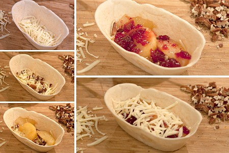 Layer the tortillas for Apple Cranberry Quesadillas