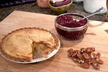 Thanksgiving leftovers - apple pie, cranberry sauce, and pecans