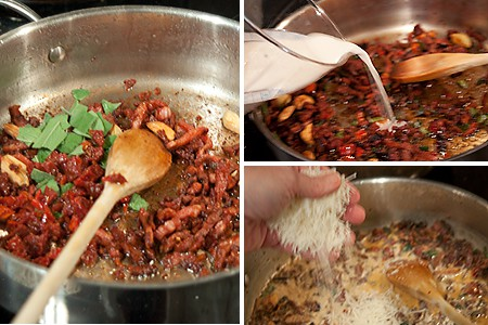 Making sauce for Penne with Creamy Guanciale Sauce