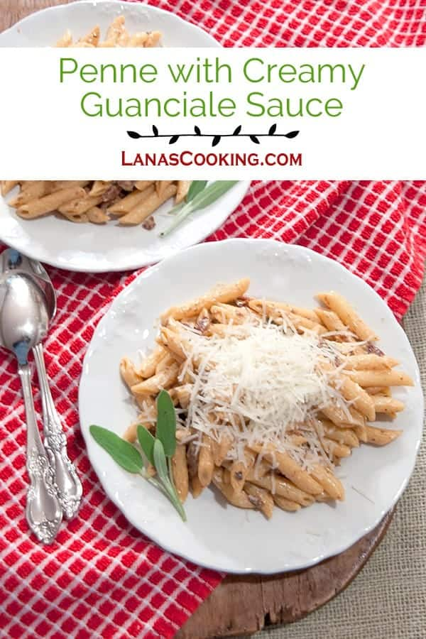 Penne with Creamy Guanciale Sauce - Penne pasta tossed with a creamy sauce made with guanciale (or pig jowls), garlic, sun-dried tomatoes, and sage. From @NevrEnoughThyme http://www.lanascooking.com/penne-creamy-guanciale-sauce