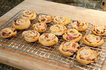 Prosciutto Ricotta Pinwheels cooling