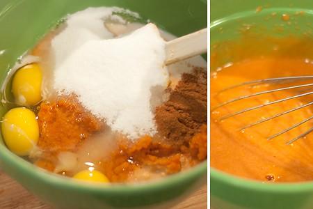 Pumpkin mixture for Pumpkin Pecan Crunch Cake