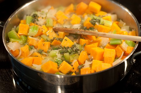 Cooking veggies for Sweet Potato Pecan Stuffing
