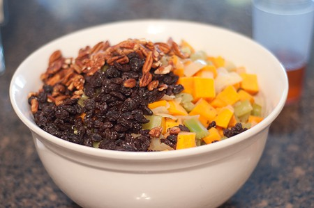 Combine all ingredients for Sweet Potato Pecan Stuffing