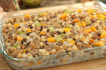 Sweet Potato Pecan Stuffing ready to bake