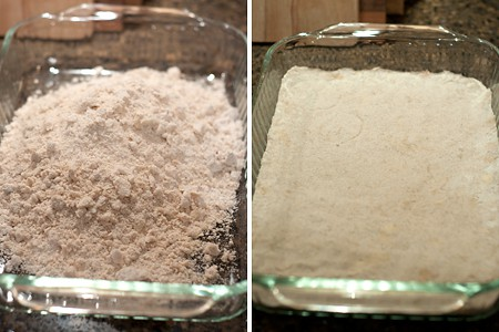 Pating the crust for into a baking pan.