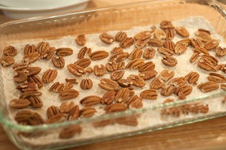 Sprinkle pecan halves over the crust