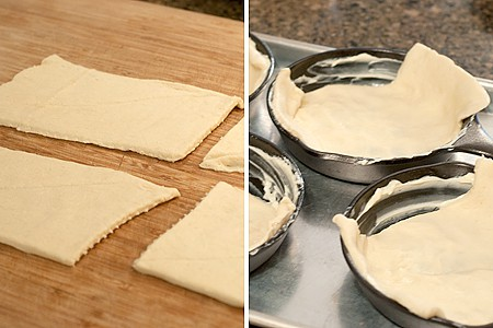 Place dough in skillets or bowls for Crescent Roll Breakfast Stacks