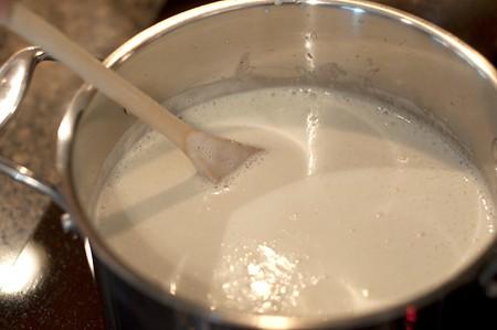 Cook eggnog mixture for Mocha Eggnog Sundae