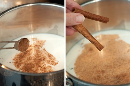 Add spices to milk for Mocha Eggnog Sundae