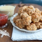 Sausage Balls with Two Dipping sauces - Traditional, classic and always a hit - sausage balls with two dipping sauces are perfect for any holiday party! From @NevrEnoughThyme http://www.lanascooking.com/sausage-balls-two-dipping-sauces