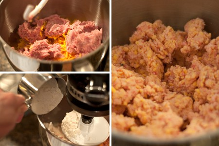 Mixing dough for Sausage Balls with Two Dipping Sauces